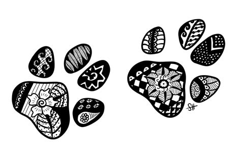 zentangle paw prints by doerki on deviantart