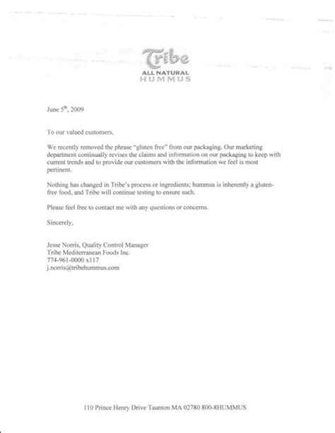 Valuable Customer Letter Tribe Hummus Adventures Of A Gluten Free