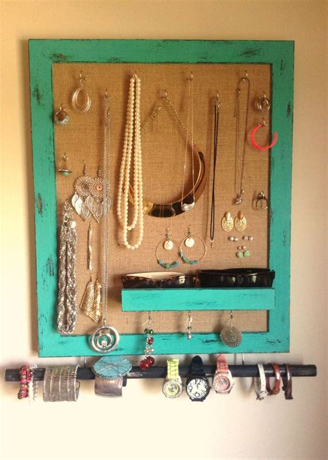 diy jewelry holder    picture frame  burlap