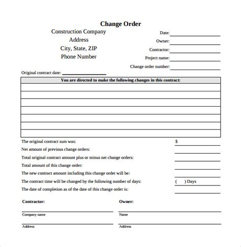 change request form template sle change order template 10 free documents in pdf