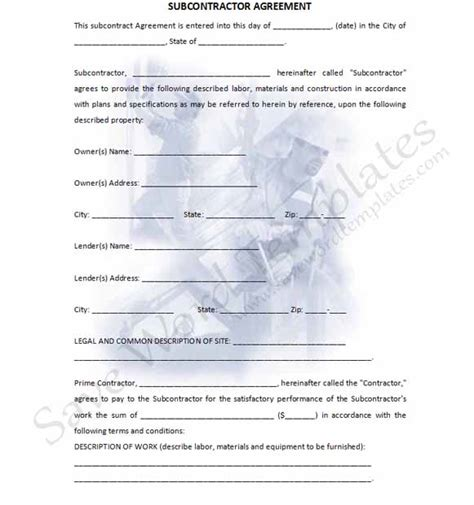 subcontractors agreement template subcontractor agreement