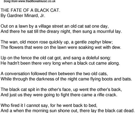 cat song lyrics time song lyrics for 38 the fate of a black cat