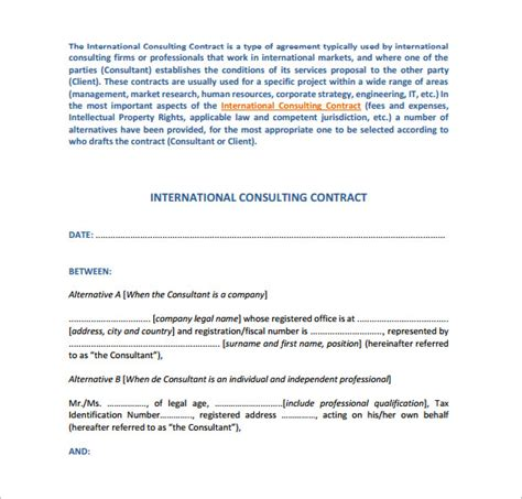 consultant contract template sle consulting contract template 9 free documents in