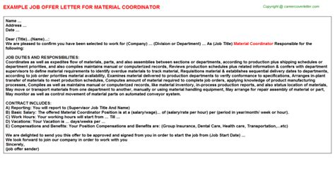 Material Coordinator by Material Coordinator Offer Letter Job200067