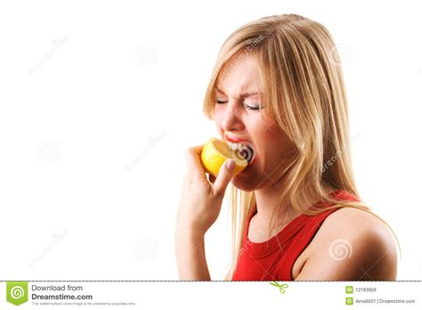 eats lemon lemon stock photo image of sour unpleasant 12183956