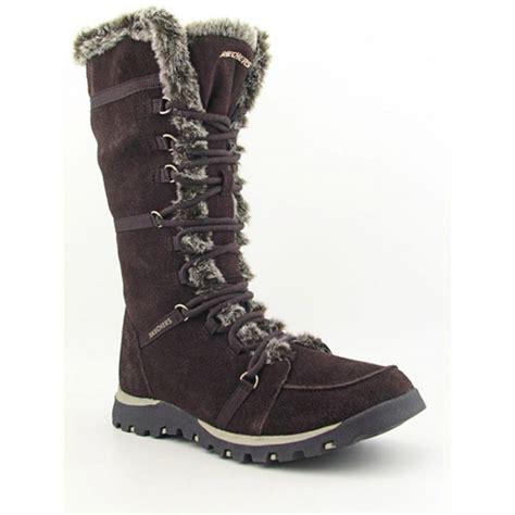 skechers grand jams unlimited suede brown snow boot