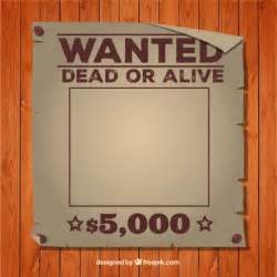 wanted dead or alive poster template vector free