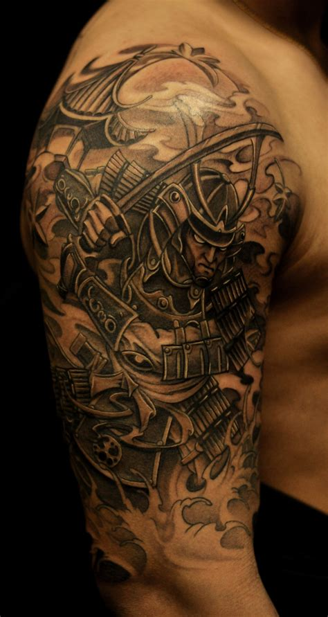 warrior tattoo sleeve designs samurai tattoos half sleeve samurai and pagoda