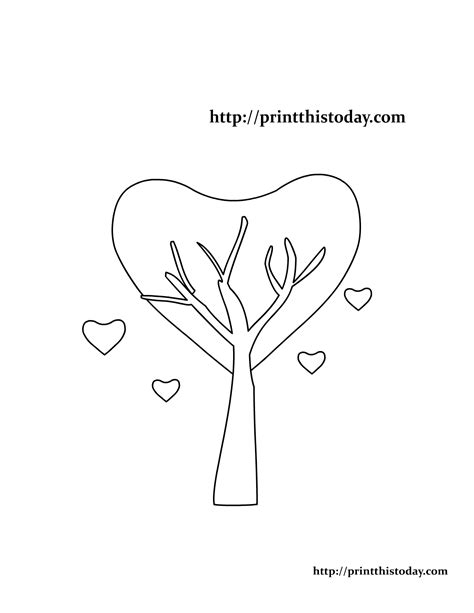 heart tree coloring page free printable valentine coloring pages