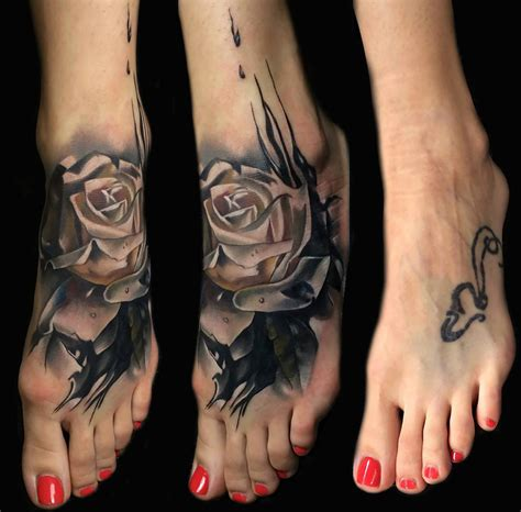 rose tattoo cover up ideas foot cover up design best ideas gallery