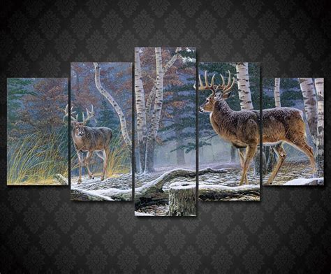 deer hunting art home decor sports poster wall art print whitetail deer big buck standoff 5 piece hq canvas wall