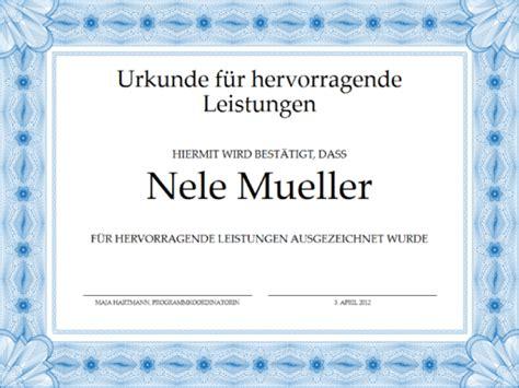 Word Vorlage Zertifikat Urkunde F 252 R Hervorragende Leistungen Blau Templates