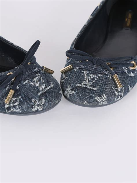 louis vuitton oasis monogram denim ballerinas blue