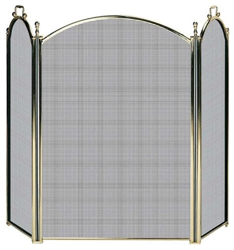 Solid Brass Fireplace Screen by Uniflame 3 Fold Solid Brass Premium Screen Transitional