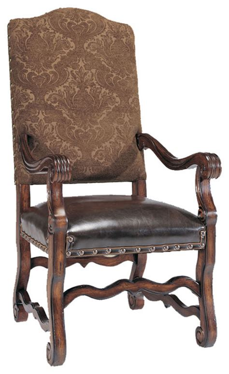 tuscan traditional seat dining arm chair brown and gold