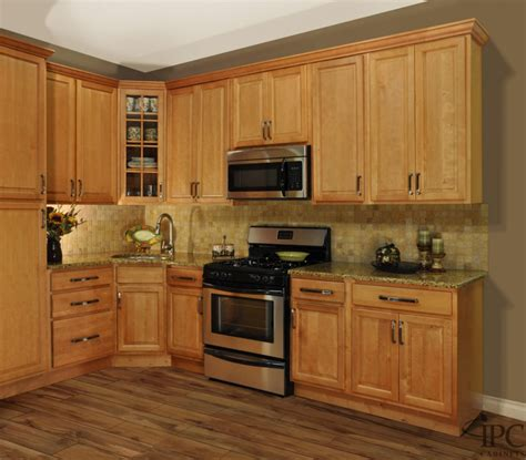 gorgeous golden oak kitchen cabinets with round stainless