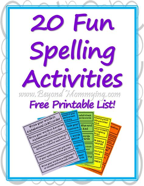 printable spelling games lesson plans fun spelling activities to make spelling less boring