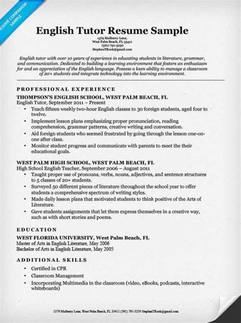 Samples Of Resumes And Cover Letters by English Tutor Resume Sample Resume Companion