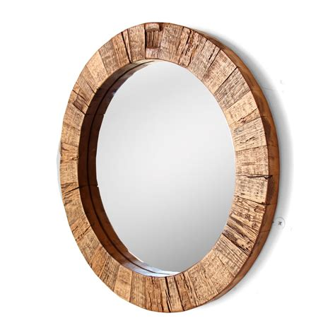 Salvaged Wood x the collier round mirror reclaimed wood silicate