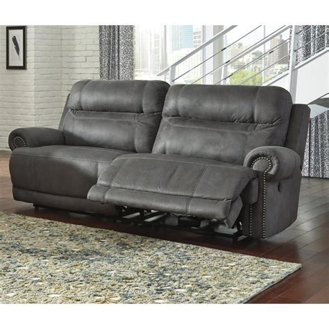 gray reclining sofa ashley furniture austere faux leather reclining sofa in
