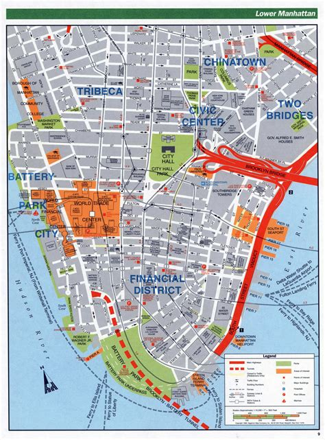 map of lower usa large detailed road map of lower manhattan nyc new york
