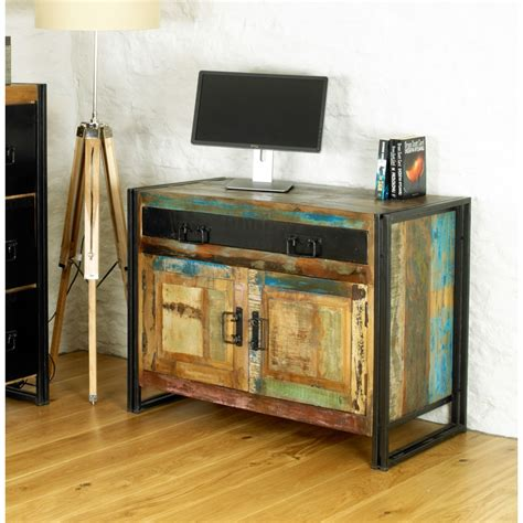 chic solid reclaimed wood office furniture hideaway