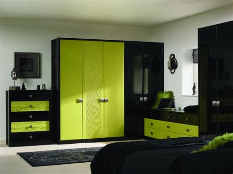 green and black bedroom black and lime green large wardrobe and drawers placed in