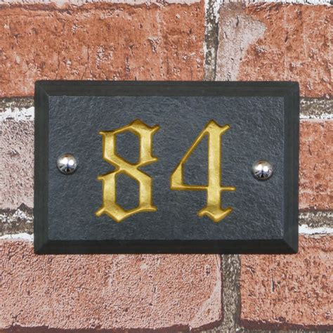 slate house bevelled edge slate house number 150mm x 100mm