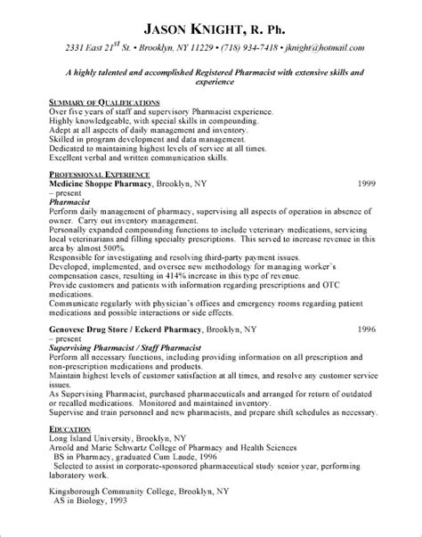 Pharmacy Manager Resume by Retail Pharmacist Resume Sle Resume Format