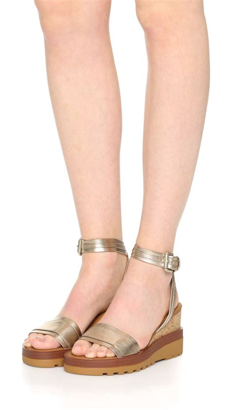 see by sandals see by chlo 233 robin wedge sandals in metallic lyst