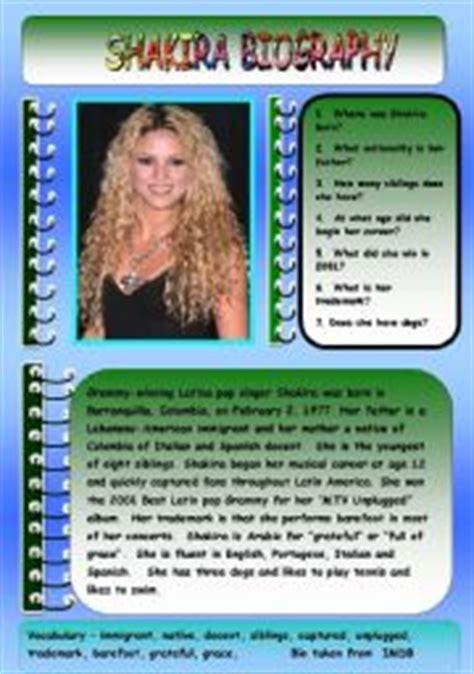 biography english teacher english worksheet shakira biography