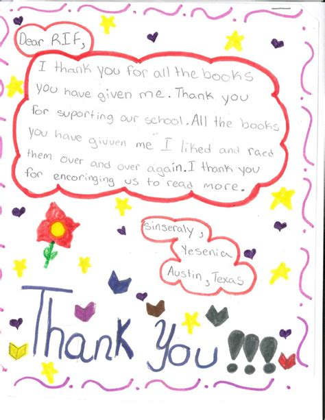 thank you letter to child s sle kid s letters bookspring