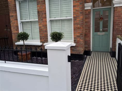 Small Terraced House Front Garden Ideas Front Gardenpany Walls Rails Black And White