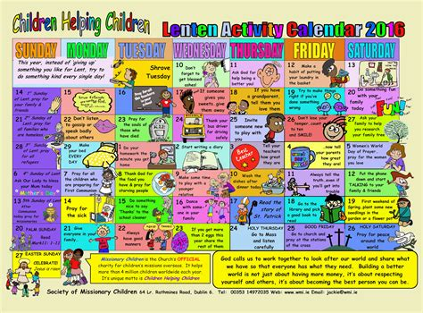 Lent Calendar Lenten Activity Calendar For Children Greystones Parish