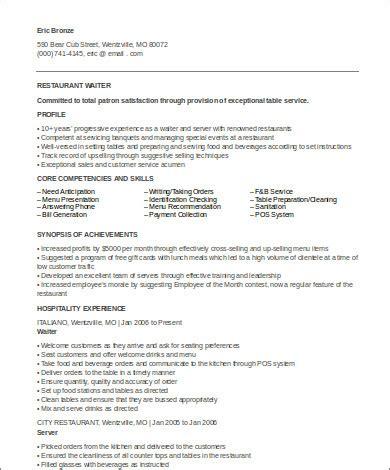 Resume Sle For Waitress by Sle Waiter Resume 6 Exles In Word Pdf