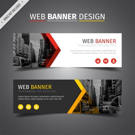 banner design editor red and yellow web banner design vector free download