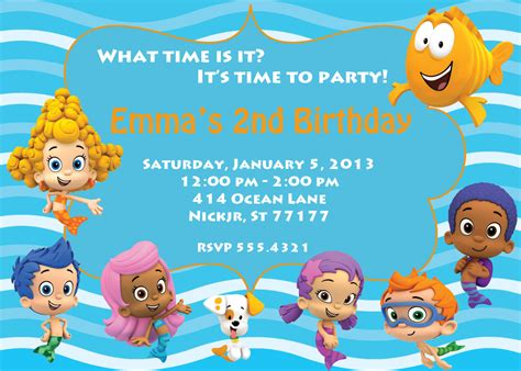 bubble guppies invitation by partypassiondesign on etsy