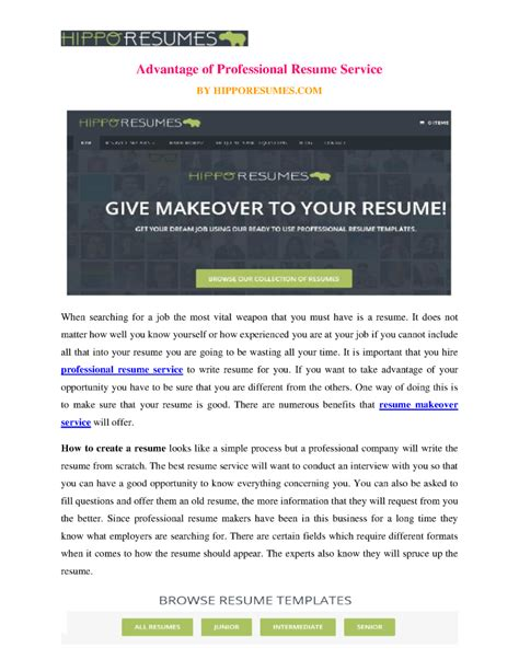advantage of professional resume service authorstream