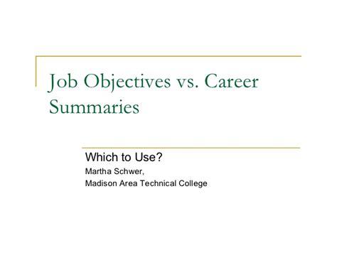 Resume Objective Vs Professional Summary Objective Career Summary