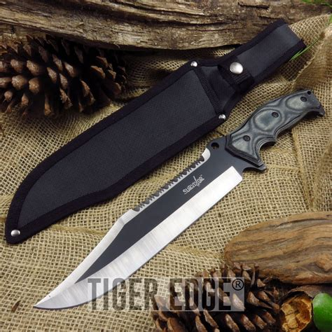 tang bowie knife fixed blade bowie knife 15 quot survival sawback black