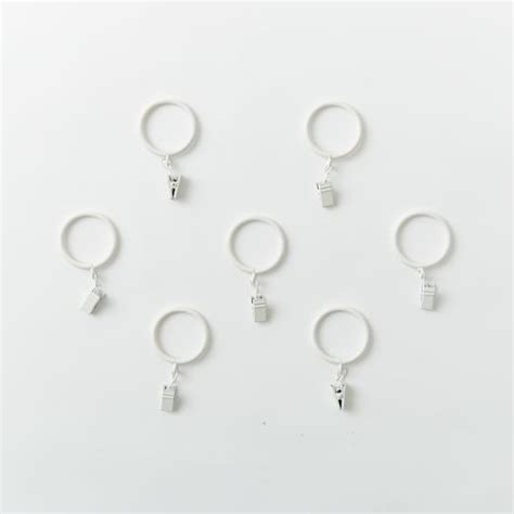 white metal curtain rings metal curtain rings clips set of 7 white west elm