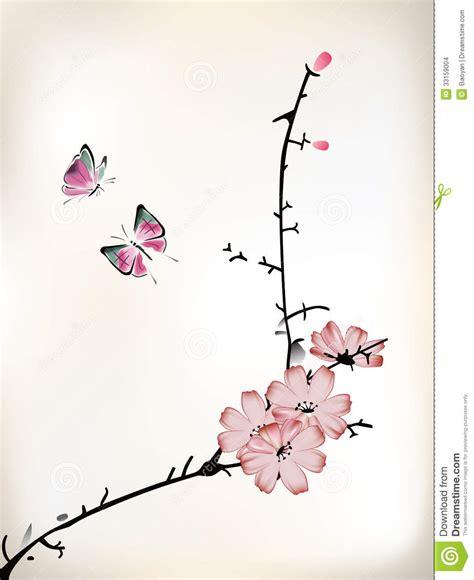 japanse tekeningen bloemen bloesem het schilderen stock afbeeldingen afbeelding