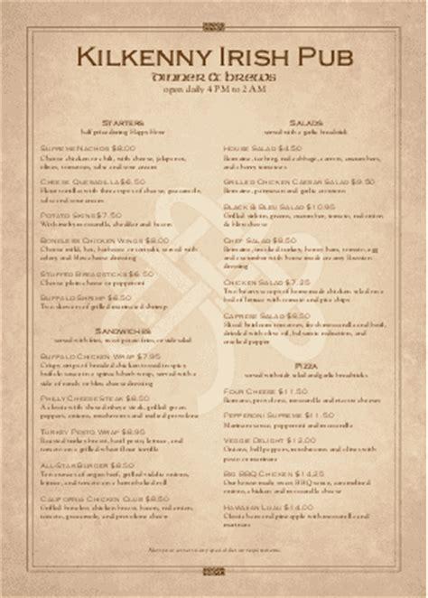 irish tavern menu a4 page a4 menus