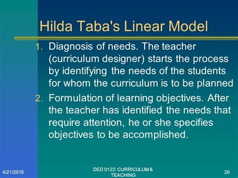 Curriculum Model Of Hilda Taba Best Features Curriculum Development Models Ppt