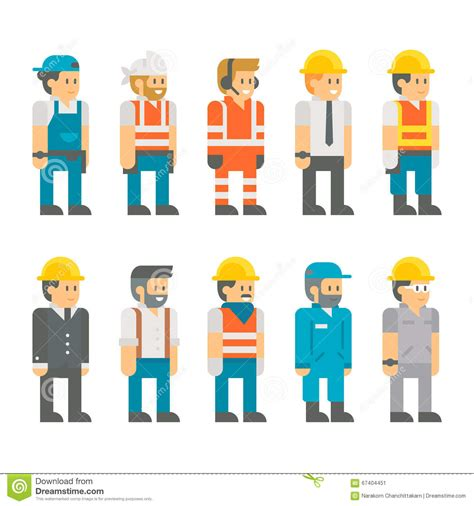 layout worker flat design construction workers set illustration stock