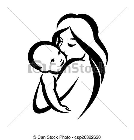 vectors of mother and baby stylized vector symbol