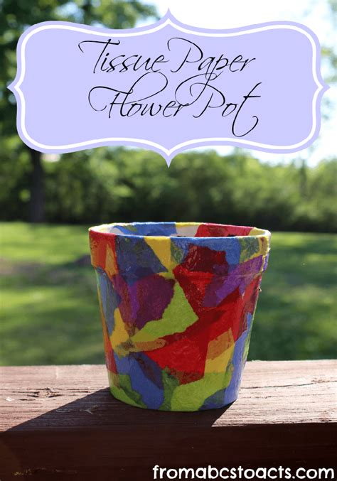 Paper Craft Flower Pot - springtime crafts for tissue paper flower pot