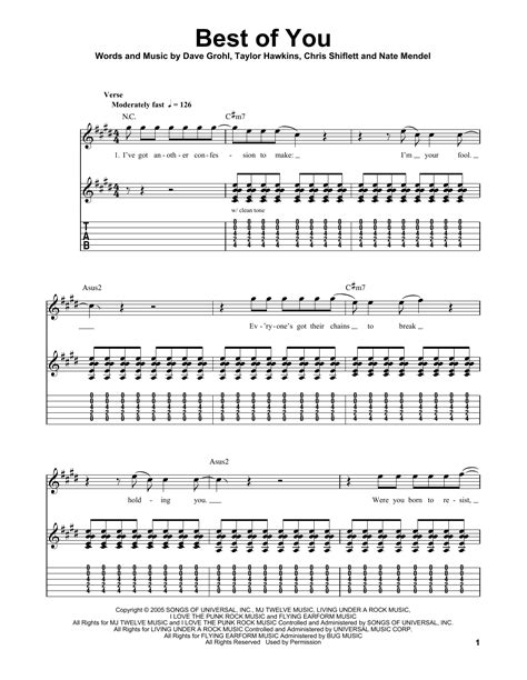 foo fighters best of you tab tablature guitare best of you de foo fighters tablature