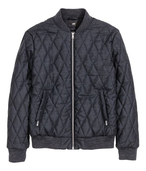 Bomber Quilted Jacket by H M Quilted Bomber Jacket In Blue For Lyst