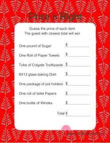 free printabel price is right bridal shower game